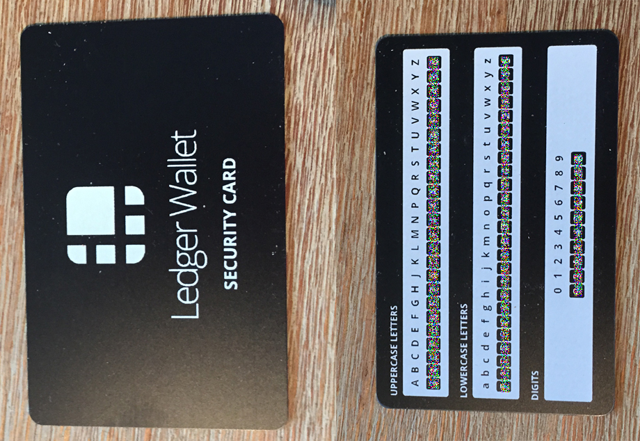 Ledger Wallet Security Card