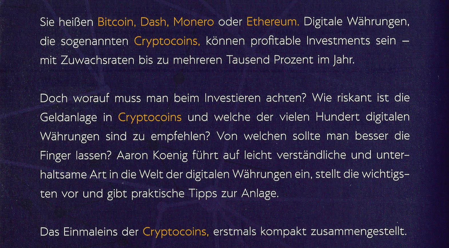 Rückseite: Cryptocoins: Investieren in digitale Währungen | Werbelink*